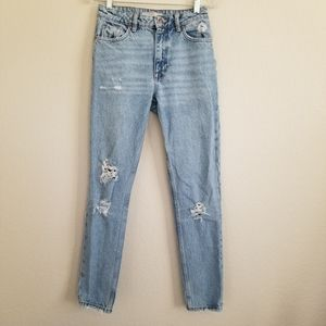 Zara Basic Distressed High Rise Mom Jeans Size 2